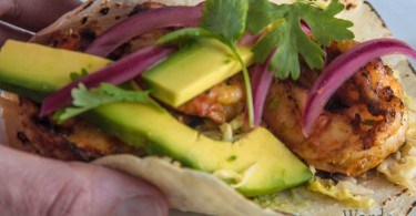 Prawn Tacos Creamy Cabbage Pickled Red Onion