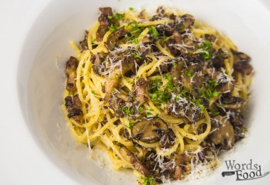 Spaghetti Carbonara With Bacon And Mushrooms